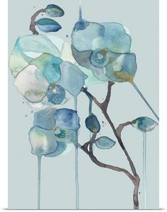 Orchid - Blue on Blue ~ Poster Wall Art by Designer Shell Rummel for #greatbigcanvas #shellrummel All artwork ©Michelle Rummel / Shellartistree LLC #wallart #canvas #interiordesign #homedecor 1