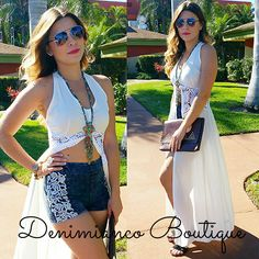 Love this new trendy outfit! It's the perfect cruise or beach vacation outfit. The white duster is perfect as a bathing suit cover up or to wear with denim shorts! Only at Denimianco Boutique SML $35 239-313-7298 to order