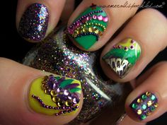 Mardi Gras nail jewels