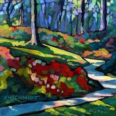 Just Landscape Animal Floral Garden Still Life Paintings by Louisiana Artist Karen Mathison Schmidt: Woodland Garden (sold) Garden Painting, Painting & Drawing, Landscape Art, Landscape Paintings, Art Floral, Tree Art, Land Scape, Painting Inspiration, Art Images