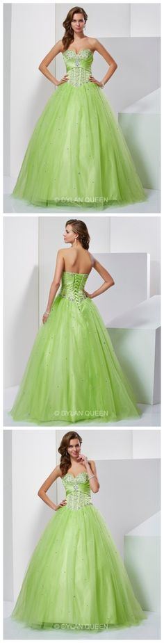 Splendid Ball Gown Sweetheart Sleeveless Beading Floor-Length Tulle Prom/evening Dress.