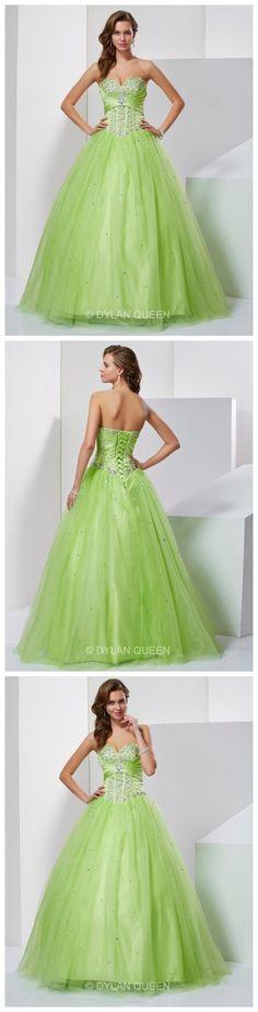 Splendid Ball Gown Sweetheart Sleeveless Beading Floor-Length Tulle Prom/evening Dress.