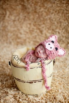 PDF Fuzzy Piggy Baby Hat Photography Prop CROCHET PATTERN No 204 Sizes preemie, newborn, 0-3, 3-6 months. $3.99, via Etsy.