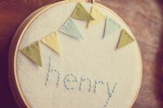 Personalized Embroidery Hoop Art. Childrens Name Plaque. Felt Bunting. By Catshy Crafts
