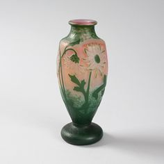 French Art Nouveau Wheel-Carved Cameo Glass Vase by Daum
