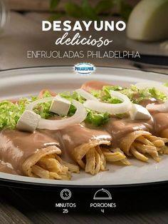 El día comienza mejor si compartes estas Enfrijoladas Philadelphia con los que más quieres. #recetas #receta #quesophiladelphia #philadelphia #crema #quesocrema #queso #comida #cocinar #cocinamexicana #recetasfáciles #recetasPhiladelphia #recetasdecocina #comer #enfrijoladas #tortilla #cebolla #frijol #pollo #lechuga #desayuno