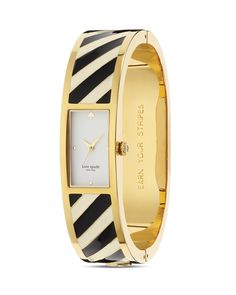kate spade new york | Stripe Carousel Bangle Watch | black/white on goldtone