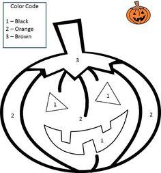 color by number halloween pumpkin