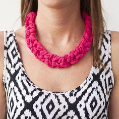 Crochet T-shirt Yarn Necklace