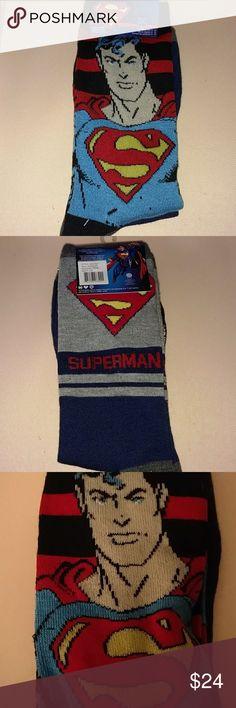 NWT SUPERMAN 2 pk  DC COMICS SOCKS Design as Shown X2 pairs New:) Official DC Comics Brand Polyester 97 % Spandex 3% DC Comics Underwear & Socks Casual Socks