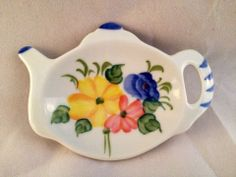 Porcelain Ceramic Floral Tea Bag Holder Teapot Shape