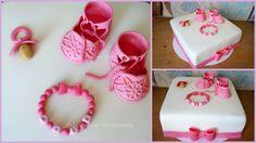 Mädchen-Tauf-Torte  mit Babyschuhen