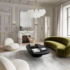 Le mobilier de 2020, se veut design et principalement arrondi. Ainsi, pour une déco cocooning et tendance en 2020, optez pour un beau canapé en velours et de forme arrondie. #déco #tendance #2020 #forme #rond #canapé #salon