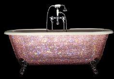 Pink Swarovski crystal bath tub