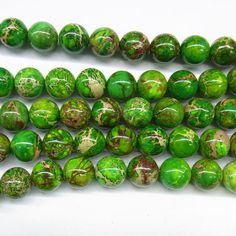 "Sea Sediment Imperial Jasper Beads 12mm Round Yellow Green Loose Beads Semiprecious Gemstone 15""L 15""L 4426- Wholesale Beads"