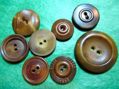 "8 - 3/4""+ BROWN VEGETABLE IVORY 2-HOLE CRAFT BUTTONS-ASSORTED VINTAGE Lot#L405"