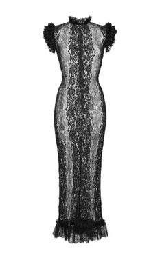 This **Dolce & Gabbana** dress features a frilled lace trim at the neck and shoulder and a flounced midi hemline.