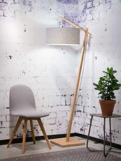 GOOD&MOJO Andes: Bamboo floor lamp in bamboo / light grey eco-linen shade. Lamp Design, Lighting Design, Desk Lamp, Tripod Lamp, Davey Lighting, Bamboo Light, Bamboo Lamps, Diy Floor Lamp, Lamp Cord