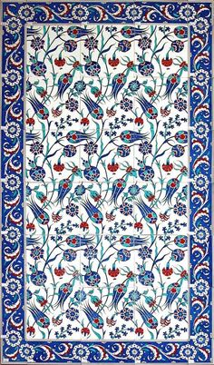 turkish_tile_art_serbet_laleler_b. - Art and Literature Turkish Design, Turkish Art, Turkish Tiles, Portuguese Tiles, Tile Patterns, Pattern Art, Zentangle Patterns, Flower Patterns, Pattern Design
