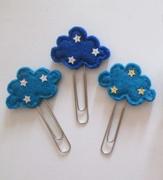 Paper clip bookmark with Felt Starry Cloud by TinyFeltHeart