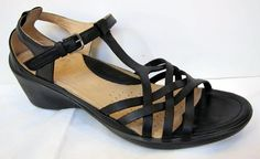 ECCO 'Sculptured Sign' Black Leather T-Strap Sandal Size 40/US 9-9.5 #Ecco #TStrap