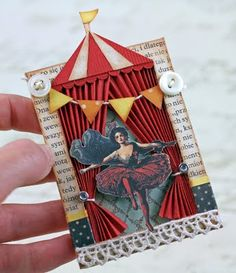 Under the Big Top ATC - use spare book pages and sew layers together for atc base