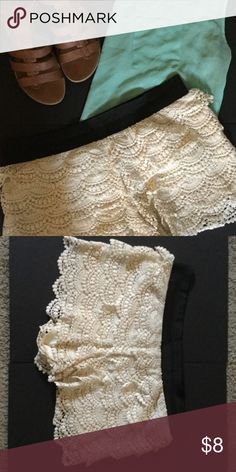 Forever 21 Crochet Shorts in Cream and Black Crochet layered short in cream and black. Elastic waistband. Price is for one pair, please comment which color you'd like after purchase Forever 21 Shorts