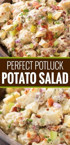 """This summertime staple is truly my FAVORITE potato salad recipe! Plus tips on how to get the perfect potato texture, prevent a """"wet"""" potato salad, and how to add extra zing that will make everyone want the recipe!   #potatosalad #potluckrecipe #summer #salad #sidedish #picnic"""