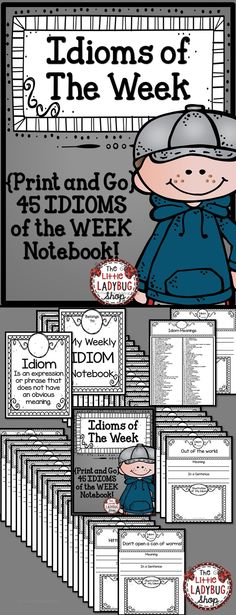 Idiom Of The Week Notebook {No Prep} | Idioms | Figurative Language Idioms are such a FUN and exciting way to add growth to our writers with figurative language!