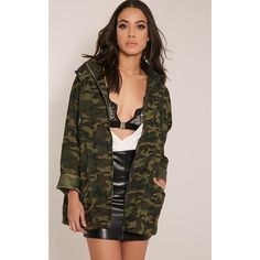 Jaynor Green Camouflage Parka Jacket-One Size (£35) ❤ liked on Polyvore featuring outerwear, jackets, green, longline jacket, camo shirt jacket, camoflauge jacket, camo print jacket and green camo jacket