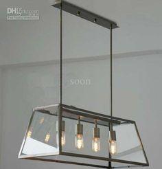 Wholesale Chandeliers & Pendant Lamps - Buy Modern RH Filament Chandelier Edison Bulb Glass Box Living Room Pendant Lamp Dia 78cm, $623.91   DHgate