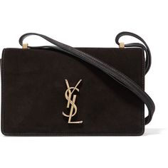 Saint LaurentMonogramme Dylan Small Suede And Leather Shoulder Bag (19.617.615 VND) ❤ liked on Polyvore featuring bags, handbags, shoulder bags, black, real leather handbags, suede purse, genuine leather handbags, yves saint laurent purse and shoulder strap bags