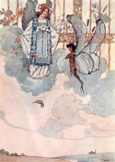 'A beautiful golden gate seemed to form in the sky.' Illustration from Dewdrops from Fairyland – Illustrated by A. Duncan Carse
