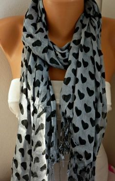 Gray Heart Scarf  Cotton Scarf Shawl  Cowl  Scarf   by fatwoman,