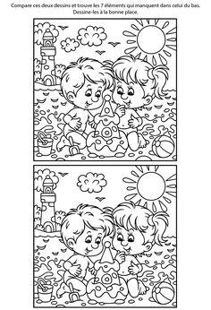 Jeu gratuit des différences, la plage; Dyslexia Activities, Educational Activities, Book Activities, Preschool Activities, 1st Grade Worksheets, Fun Worksheets, Kindergarten Worksheets, Spot The Difference Printable, Colouring Pages