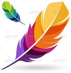 Colorful Feathers by filolif Colorful feather abstract design element vector. Feather Painting, Feather Art, Feather Design, Feather Icon, Feather Illustration, Feather Vector, Colorful Feathers, Anime Art Girl, Vector Art