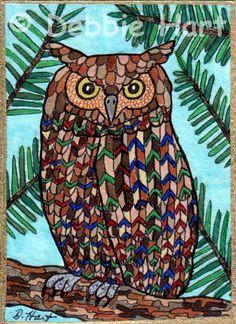 ACEO TW JUN Original Forest Owl Pine Tree Folk Art Bird Illustration DEBBIE HART #Whimsical