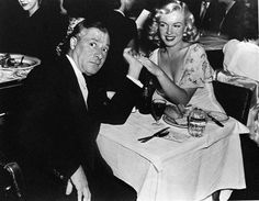 Marilyn with actor George Jessel at the premiere of the play, Scandals, at the Florentine Theatre Restaurant, 1948.