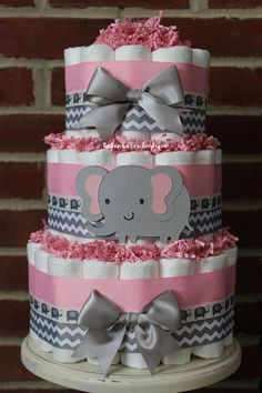 313899602 3 Tier Pink and Gray Elephant Diaper Cake, Pink Gray Elephant Baby Shower,  Girl, Baby Shower Centerpiece, Pink Grey Chevron Elephant Decor