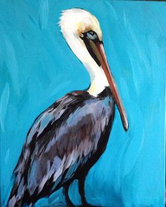 Brown pelican with turquoise background by Anya Lincoln-Dunn