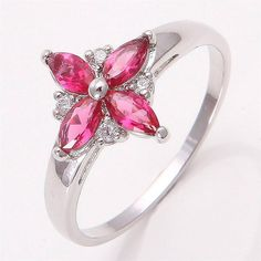 10K White Gold Filled Red Gemstone Ring  in Jewelry & Watches | eBay #ring #jewelry