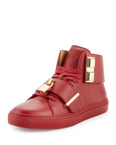 Men\'s 100mm Trap High-Top Sneaker, Red by Buscemi at Neiman Marcus.