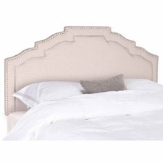 Safavieh Alexia Headboard Taupe With Nail Heads