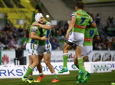 Jarrod Croker of the Raiders celebrates his try with team mates during the round eight NRL match between the Canberra Raiders and the Manly Sea Eagles at GIO Stadium on April 21, 2017 in Canberra, Australia.