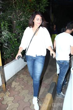 Sonakshi Sinha stepped out in a classic white and denim combination.