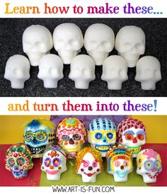 Learn how to make sugar skulls in this easy step-by-step demo with lots of pics! Perfect DIY craft for celebrating Day of the Dead (Día de Muertos), the special Mexican holiday for honoring our loved ones who have passed away. Sugar Skull Crafts, Sugar Skull Molds, Sugar Skull Art, Mexican Sugar Skulls, Day Of The Dead Diy, Day Of The Dead Party, Classroom Halloween Party, Halloween Crafts, Art For Kids