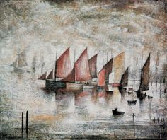 size: Stretched Canvas Print: Sailing Boats, 1930 by Laurence Stephen Lowry : Artists Using advanced technology, we print the image directly onto canvas, stretch it onto support bars, and finish it with hand-painted edges and a protective coating. Salford, Sailboat Art, Great Paintings, Beautiful Paintings, Oil Paintings, Painting Edges, Stretched Canvas Prints, Find Art, Framed Art