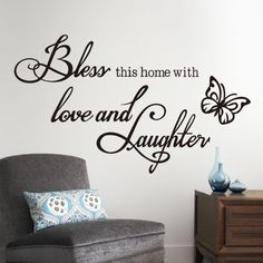 Hot Home Decoration Love laughs butterfly quote wall sticker 8386 Hoom decor art mural on removable vinyl direct delivery