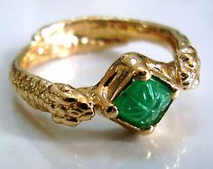 Emerald snake ring, with carved natural green emerald - solid 10K gold.