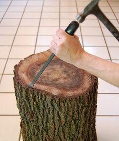 Aproveite troncos e faça uma mesinha de apoio